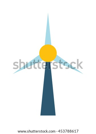 Wind mill station power plant, flat vector drawing illustration. Power energy electricity wind mill station alternative generation technology. Renewable generator ecology wind mill station. - stock vector