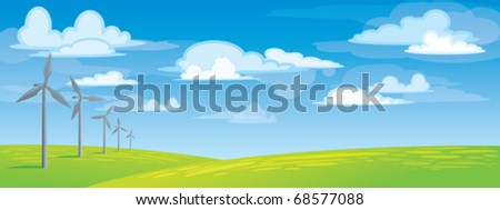 Wind power on a green meadow - stock vector