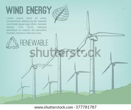 Wind power plant. Hand drawn vector illustration. - stock vector
