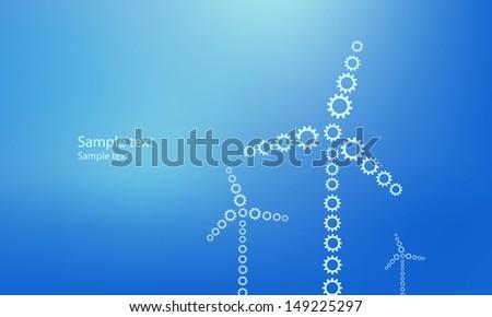 Wind power plants designed from gearwheels. Blue template - stock vector