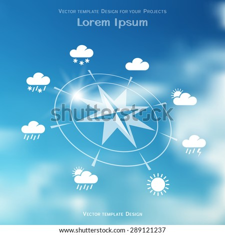 Wind rose and four seasons weather icons on blue sky blurred gradient mesh background - stock vector