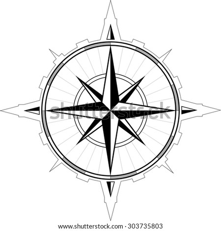 Wind rose compass - stock vector