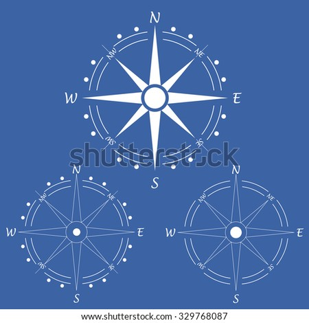 Wind rose compass. - stock vector