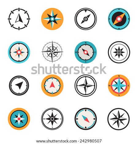 Wind rose compass flat symbols set - stock vector
