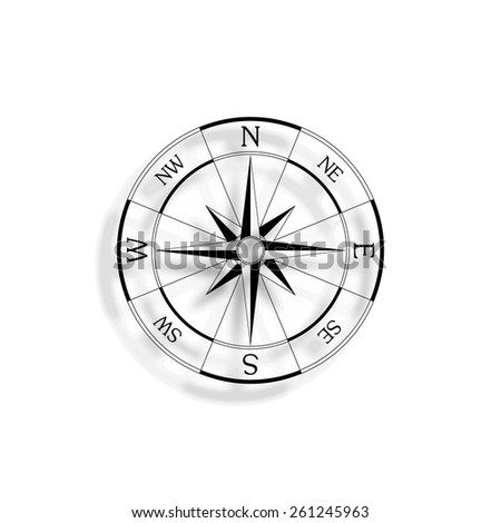 wind rose compass vector icon with shadow - stock vector