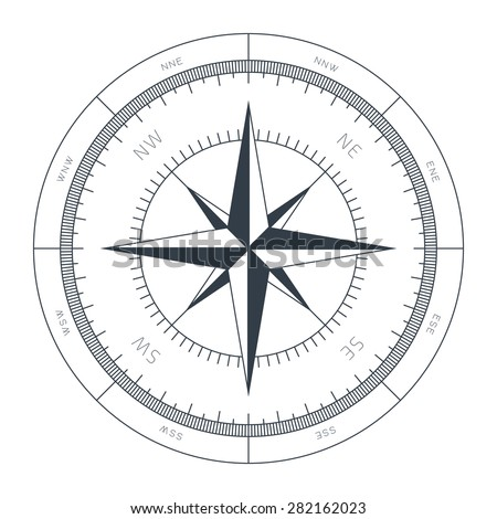 Wind Rose Conceptual Illustration Isolated on White Background - stock vector
