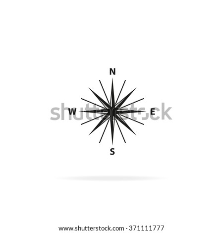 Wind rose icon. Cartography symbol. Flat illustration. - stock vector