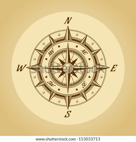 Wind rose in old retro style. Vector. - stock vector