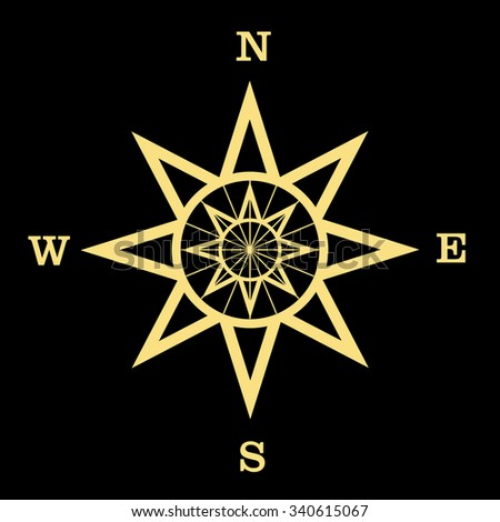 Wind rose isolated vector illustration.Compass. - stock vector