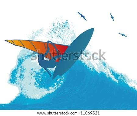 Wind Surfer Wave - stock vector