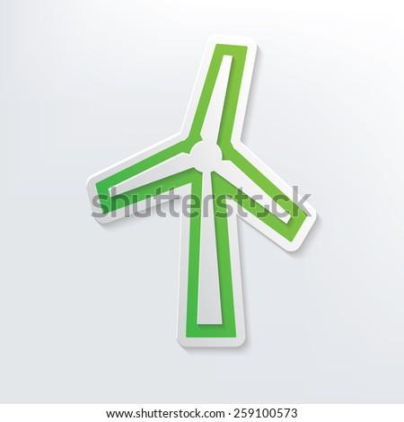 Wind turbine design on white background,clean vector - stock vector