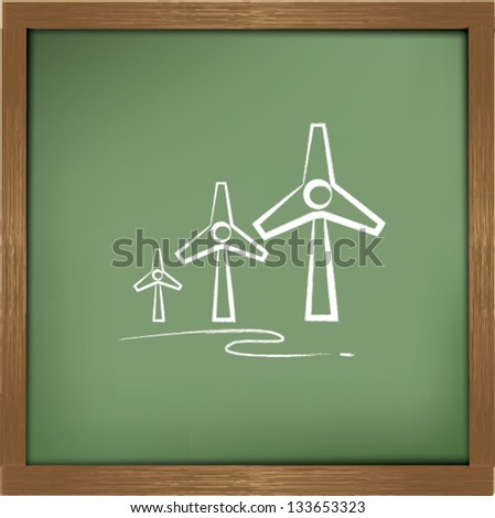 Wind turbine drawing sign on blackground,vector - stock vector