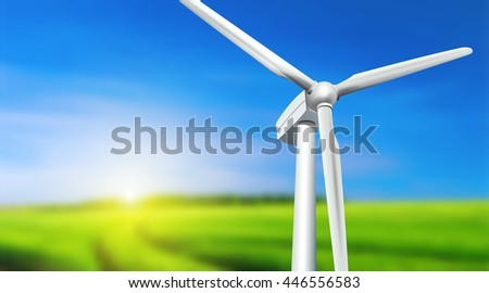 Wind turbine, grass and blue sky -  summer landscape, vector background. - stock vector