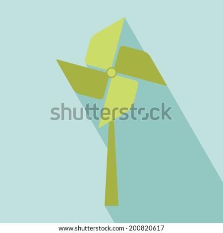 Wind Turbine Icon. All in a single layer. Vector illustration. Elements for design. Eco Concept - stock vector