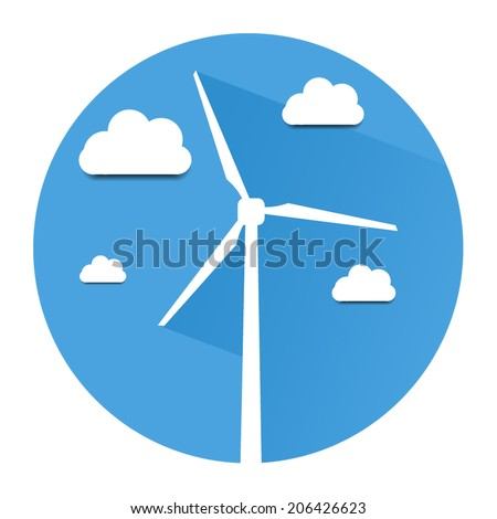 Wind turbine icon, ecology flat design,  flat ecology energy, icon flat ecology - stock vector