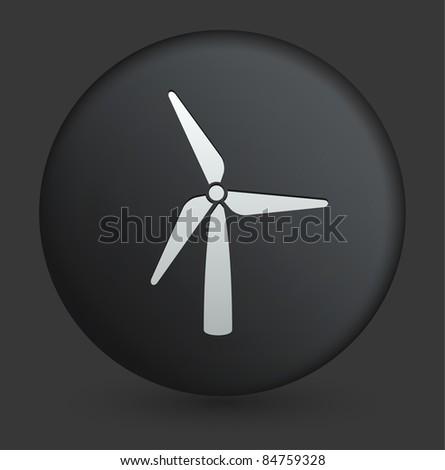 Wind Turbine Icon on Round Black Button Collection Original Illustration - stock vector