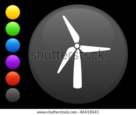 wind turbine icon on round internet button original vector illustration 6 color versions included - stock vector