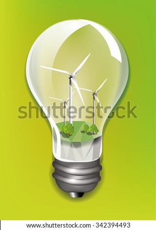 Wind turbine in a light bulb ecology concept design, vector illustration - stock vector