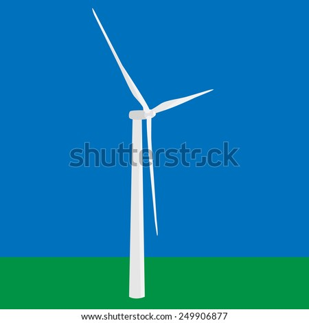 Wind turbine in the field vector, wind power, wind energy - stock vector