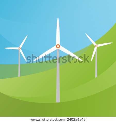 Wind Turbine landscape illustration.  Wind energie. - stock vector