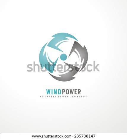 Wind turbine logo design template. Air conditioning vector symbol ...