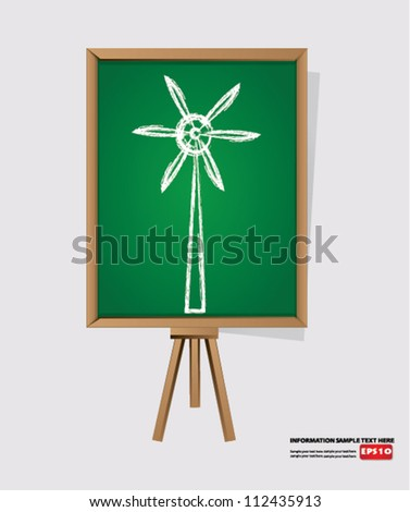 Wind turbine on blackboard background,Vector - stock vector