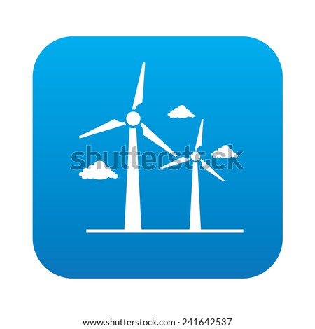Wind turbine on blue button background,clean vector - stock vector