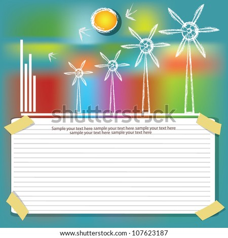 Wind turbine on green colorful background,Vector - stock vector