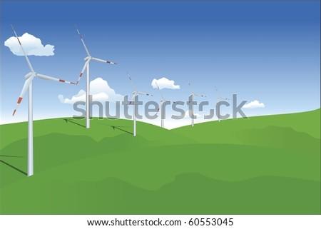 wind turbine on landscape - stock vector