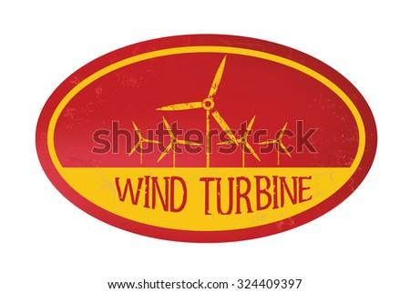 Wind turbine stamp design,retro style,grunge vector - stock vector
