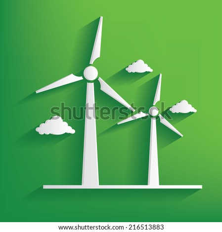 Wind turbine symbol on green background,clean vector - stock vector