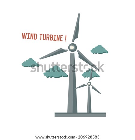 Wind turbine symbol on white background,Retro colour concept,clean vector - stock vector