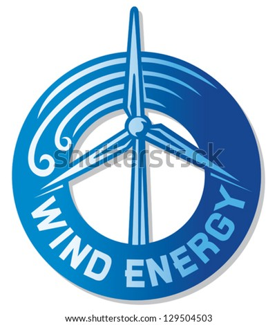 wind turbine (wind driven generators, windmill label, wind turbine renewable clean power generator, modern windmill sign) - stock vector