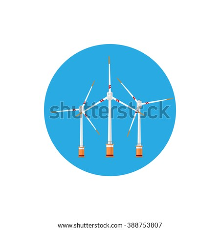 Wind Turbines Icon, Colorful Round Icon Horizontal Axis Wind Turbines ,  Offshore Wind Farm Icon , Vector Illustration - stock vector