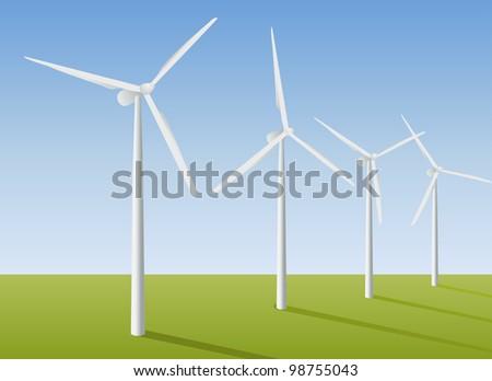 Wind turbines in the field. Vector illustration. - stock vector