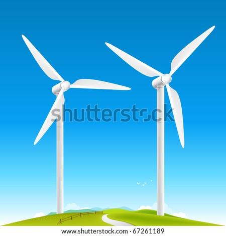 Wind Turbines Landscape on fields. Vector illustration. - stock vector