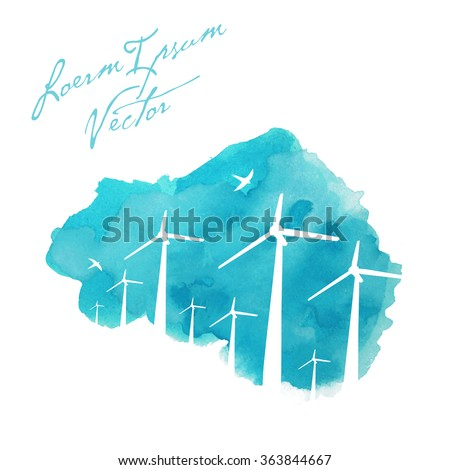 wind turbines on painted watercolor background - stock vector