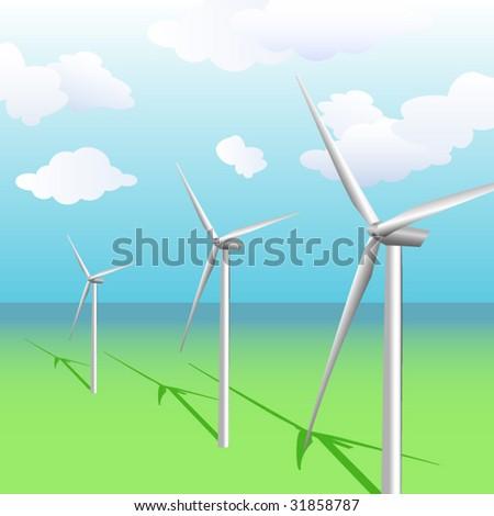 Wind turbines vector illustration - stock vector