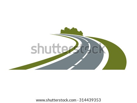 Winding paved road icon with green grassy roadside and curly bushes isolated on white background.  For travel or transportation theme - stock vector