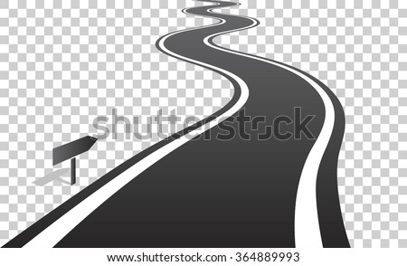 Winding road with white lines leaving over the horizon. Vector illustration on transparent background - stock vector