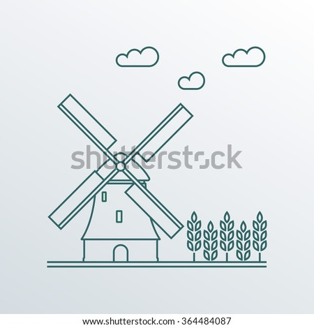 Windmill and wheat ears. Mill line symbol. Agriculture landscape. Colorful outline vector illustration in flat style. - stock vector