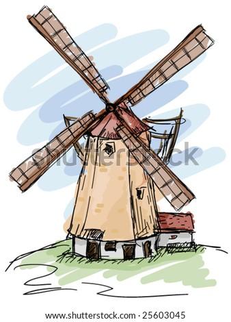 Windmill Doodles - stock vector