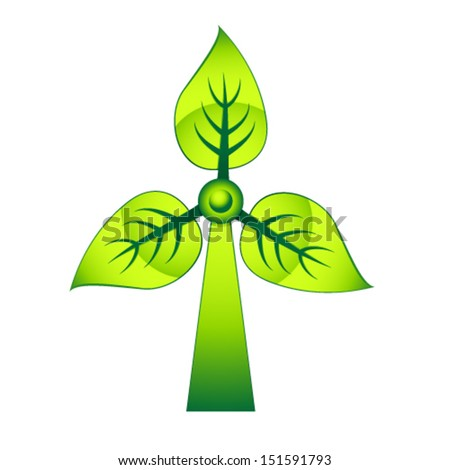 windmill - green electricity - stock vector