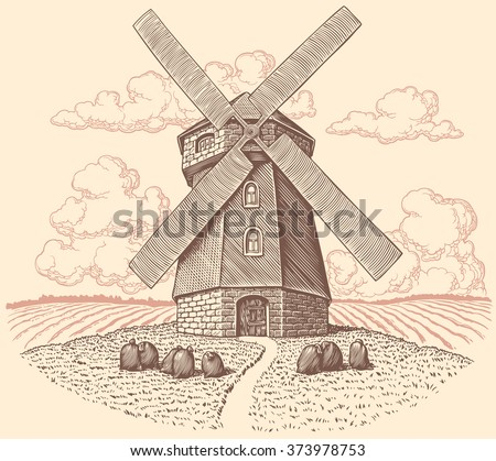 Windmill. Hand drawn engraving. Vector vintage illustration. Isolated on color background. 8 EPS - stock vector