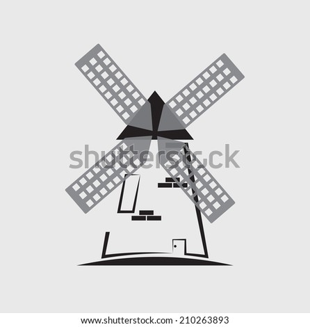 windmill icon - stock vector