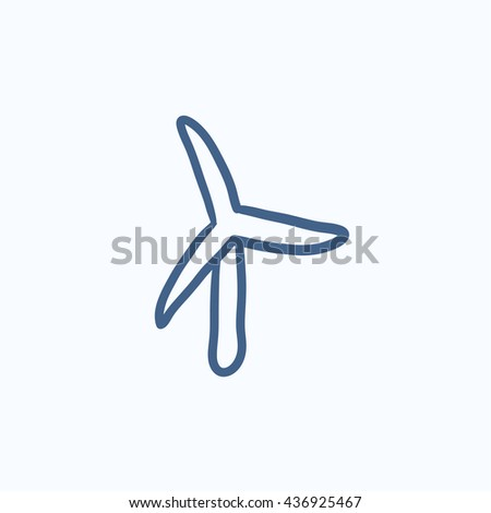Windmill vector sketch icon isolated on background. Hand drawn Windmill icon. Windmill sketch icon for infographic, website or app. - stock vector