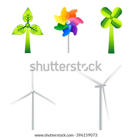 windmills and wind turbines - vector icons - stock vector