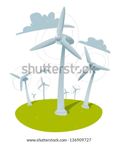 windmills. clean energy illustration - stock vector