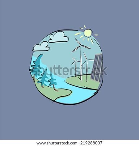 windmills nature of solar battery - stock vector