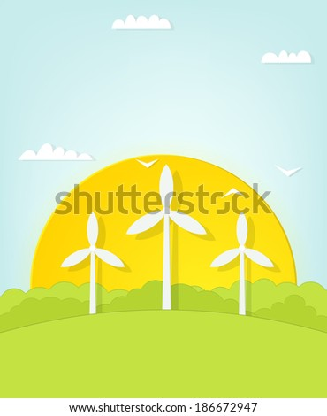 windmills on sunset background - stock vector